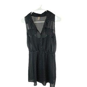 Black & White Polka Dot Layered Sheer Dress